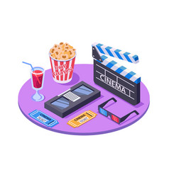3d isometric equipment with ticket pop corn vector image