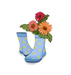 A bouquet of flowers in blue rubber women s boots vector
