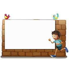 A white board a boy and birds vector