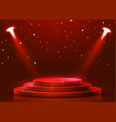 Abstract round podium illuminated with spotlight vector