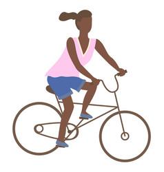 Afro-american woman riding on bike teenage girl vector