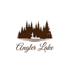 Angler fishing emblem logo design inspiration vector
