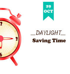 Banner for daylight saving time with alarm clock vector