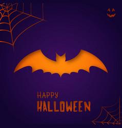 bat on purple background happy halloween vector image
