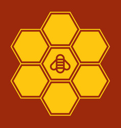 bee on honeycombs vector image
