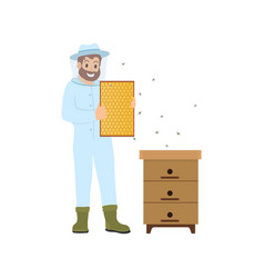 Beekeeper farming person bees vector