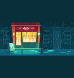 Beer bar at night with people vector