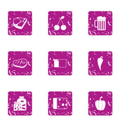 Billet icons set grunge style vector