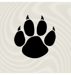 Black animal paw print isolated on pattern vector