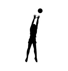 Black isolated silhouette woman catching a vector