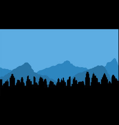 blue mountains and black silhouette of city vector image