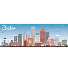 Boston Skyline with Gray and Red Buildings vector
