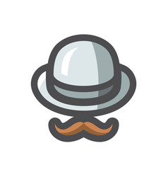 Bowler hat and mustache icon cartoon vector
