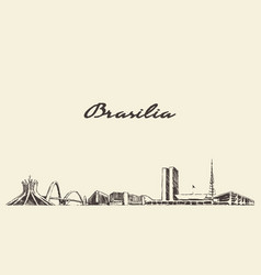 brasilia skyline brazil city drawn sketch vector image