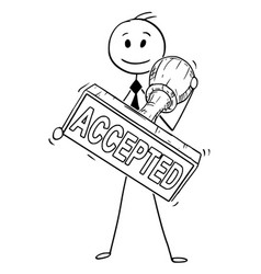 Cartoon businessman holding big hand rubber vector