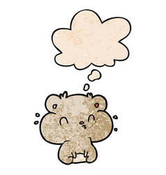 Cartoon hamster and thought bubble in grunge vector