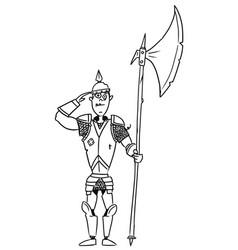 Cartoon medieval fantasy knight guard soldier vector