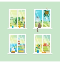 Cartoon Windows Different View Set vector image