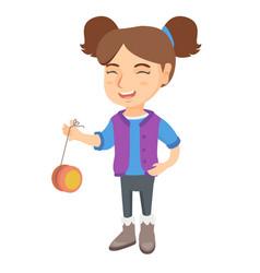 Caucasian girl playing with yo-yo vector