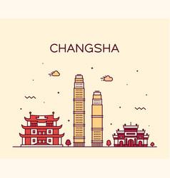 Changsha skyline hunan province china line vector