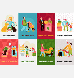 Charity types cards set vector