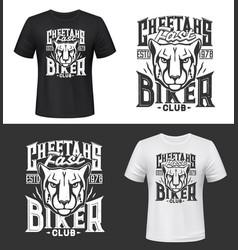 Cheetah tshirt print or tattoo apparel mockup vector