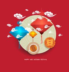 Chinese lantern festival mid autumn full moon vector
