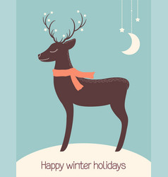 christmas deer dreaming under the stars vector image
