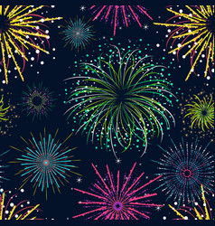color celebration fireworks background pattern vector image