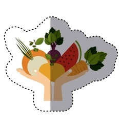 Colorful sticker of hand holding healthy food vector