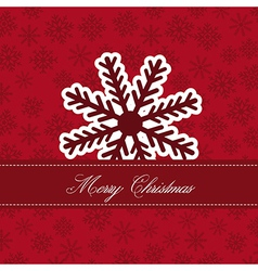 Cute snowflake over red snowflakes merry christmas vector