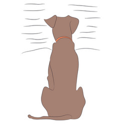 Dog sitting lines vector