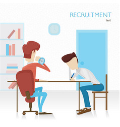 Employer arranges a survey in hiring tests tasks vector