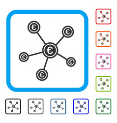 Euro network structure framed icon vector