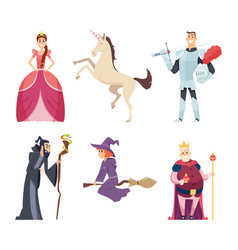 Fairy tale characters queen wizard fantasy mascot vector