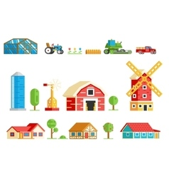 Farm Village Rural Buildings Machinery Trees Icons vector