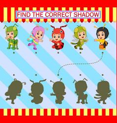 Find correct shadow cartoon kids wearing vector