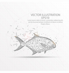 Fish low poly wire frame on white background vector