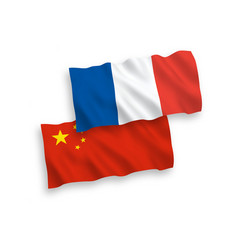 Flags france and china on a white background vector
