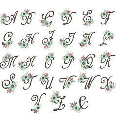 Floral monogram set flowers alphabet wedding font vector
