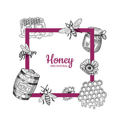 frame with hand drawn honey elements vector image