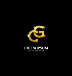 Gold letter g logo gc letter design with golden vector