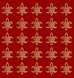 Golden lily on a red background seamless pattern vector