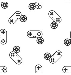 Grey gamepad and gear icon isolated seamless vector