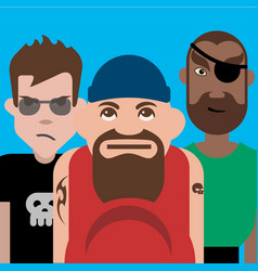 group three tough guys vector image