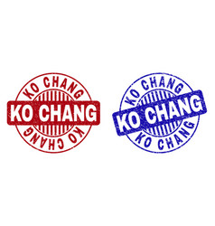 Grunge ko chang textured round stamps vector