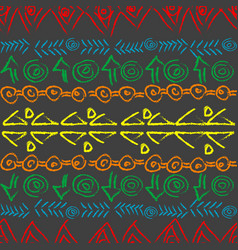 Hand drawn colorful pattern with ethnic motifs vector