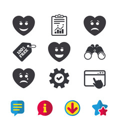 Heart smile face icons happy sad cry vector