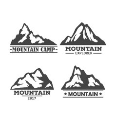 Hill or mountain rock silhouette icons set vector