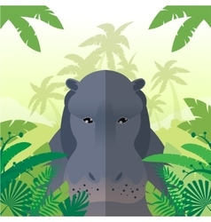 Hippo on the Jungle Background vector
